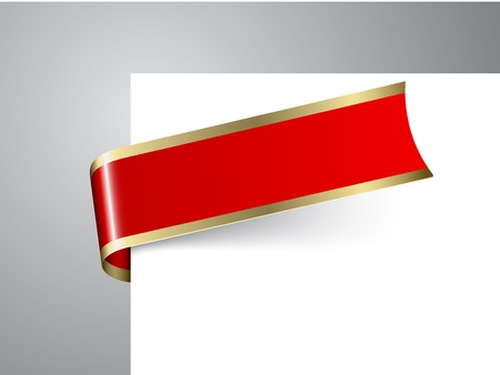 Fresh Christmas corner ribbon- red paper with golden borders Vector