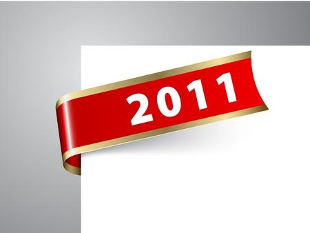 nastro angolo: Fresco anno nuovo angolo nastro su una carta rossa con bordi dorati