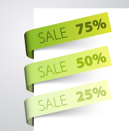 paper tags: Set of green paper tags - sale announcement