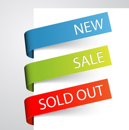 Set of paper tags for new, sold out and discounted items Vector