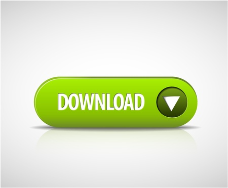 rectangle button: Big green download now button with shadow and reflections