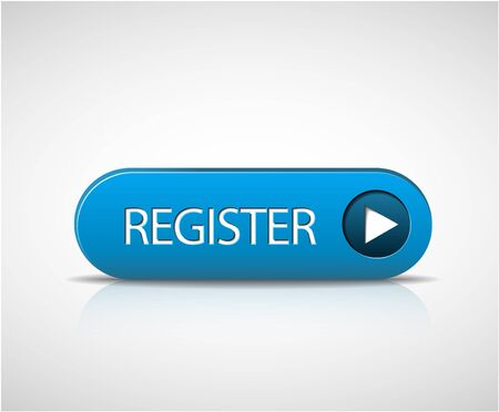subscribe now: Big blue register button with shadow and reflections Illustration