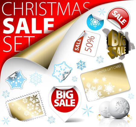 price reduction: Set of Christmas discount tickets, labels, stamps, stickers, corners, tags