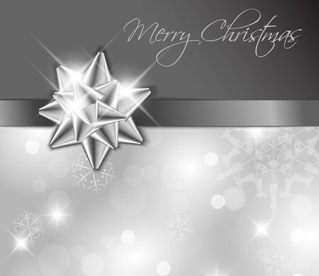 Silver ribbon with bow and Christmas abstract background