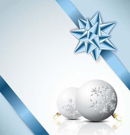 Blue bow on a ribbon with white and blue background - Christmas card Vector