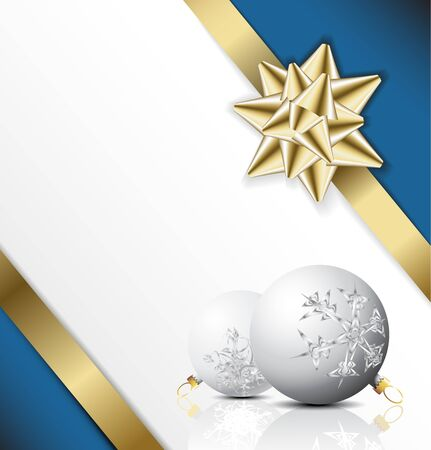 feliz navidad: golden bow on a ribbon with white and blue background - Christmas card