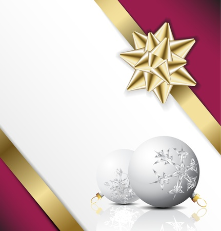 golden bow on a ribbon with white and pink background - Christmas card Vector