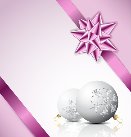 Purple  bow on a ribbon with white and blue background - Christmas card Vector