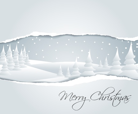 seasonable: Christmas card with snowy winter landscape