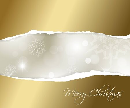 Christmas golden background with white snowflakes and place for your text Vector