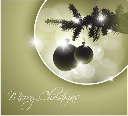 silhouette of a Christmas tree with bulbs and place for your text Vector