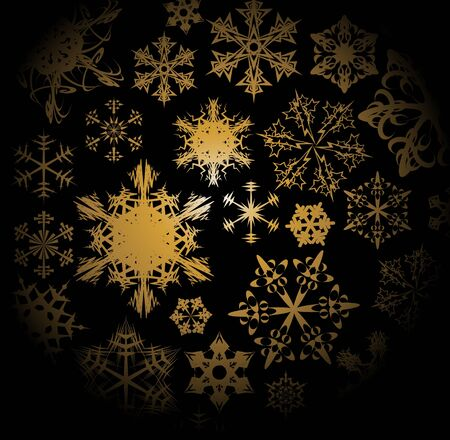 Golden snowflakes isolated on a black background Vector