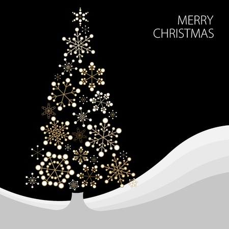 Christmas tree made from simple abstract golden snowflakes Vector