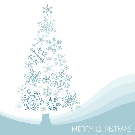 Christmas tree made from simple abstract snowflakes Vector