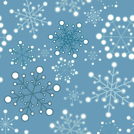 Winter - blue christmas seamless pattern  texture with snowflakes Vector