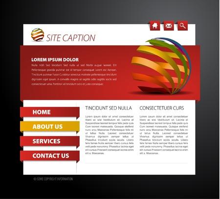 Modello di pagina web moderna - con gli elementi di navigazione 3d Vettoriali