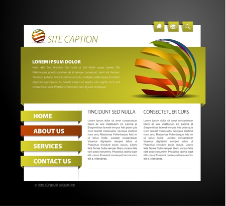 Modern web page template - with 3d navigation items Stock Vector - 8415328
