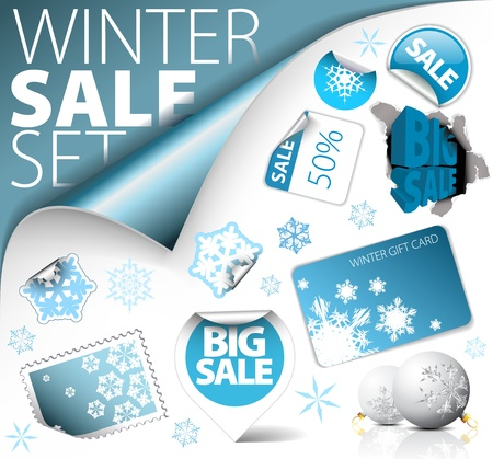 winter holiday background: Set of winter discount tickets, labels, stamps, stickers, corners, tags Illustration