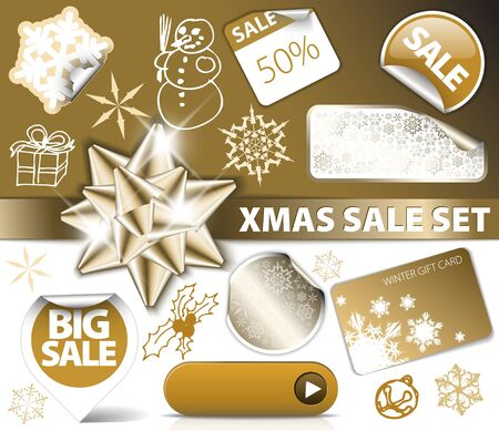 Set of Christmas golden discount tickets, labels, stamps, stickers, corners, tags Vector