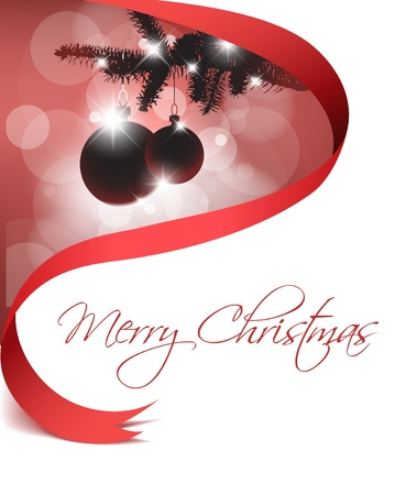 seasonable: Christmas card with some decorations and red ribbon