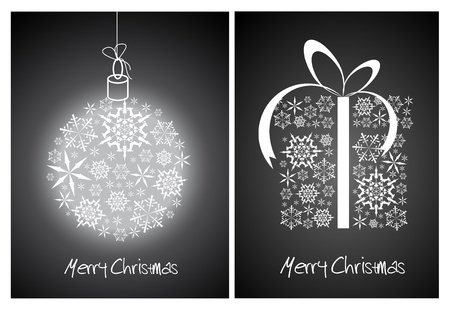 Christmas abstract card - sphere and gift box made from white snowflakes on black background Vector