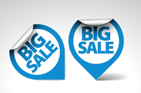 Round Labels  stickers for big sale - blue and white version Vector