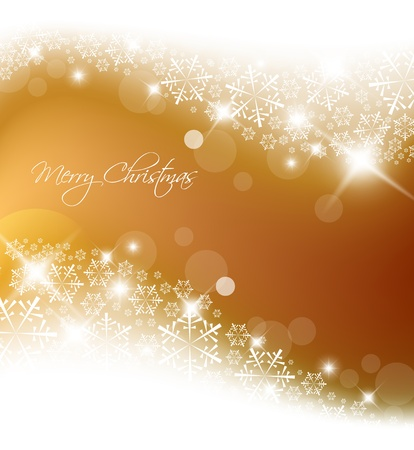 Golden abstract Christmas background with white snowflakes Vector