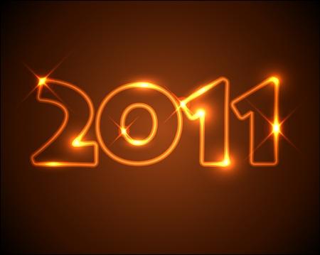 New Years card 2011 - golden / orange neon numbers Stock Vector - 8487590
