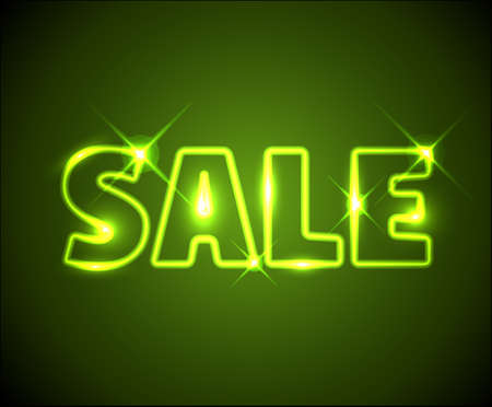 Big green shining neon sale advertisement with sparks Vector