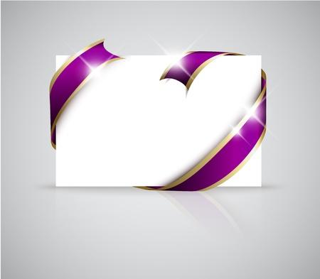 mo�os rosas: Navidad o tarjeta de boda - cinta de oro alrededor de papel blanco en blanco, donde se debe escribir el texto