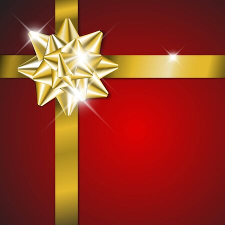 Golden  bow on a red ribbon with red background - vector Christmas card (no text) Vector