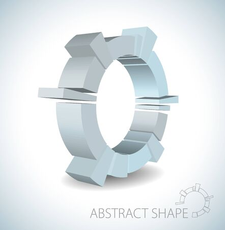 Light blue abstract 3D shape on light background Vector