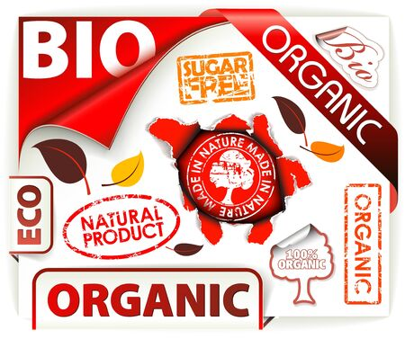Set of red bio, eco, organic elements - labels, stickers, stamps, ribbons Vector