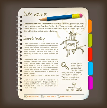 Web site template - Open notepad with colorful bookmarks Vector