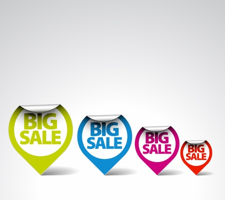 white pointer: Colorful Round Labels  stickers for big sale