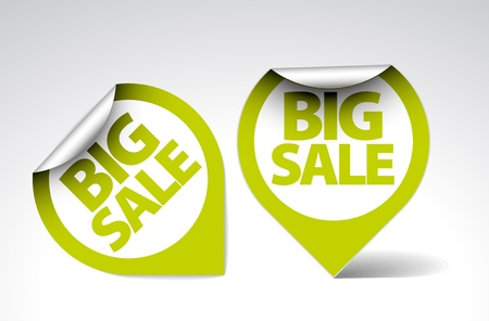 Round Labels  stickers for big sale - green and white version Vector