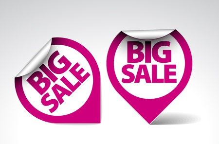 Round Labels  stickers for big sale - purple and white version Vector