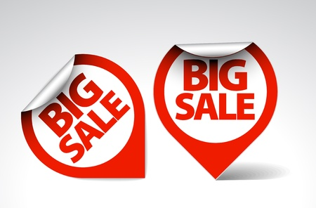 Round Labels / stickers for big sale - red and white version Stock Vector - 8859053