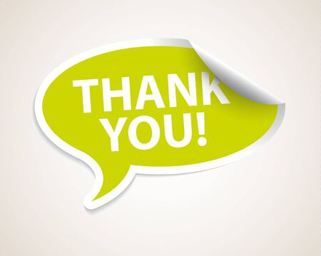 selling off: Thank you speech bubble as sticker  label with white border