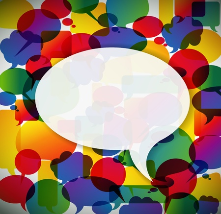 bubble speech: Colorful background made from speech bubbles with one big in the front