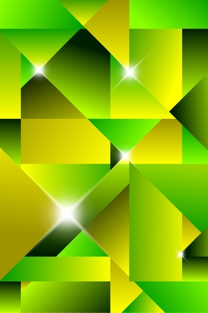 Cubism modern abstract background - green and yellow Vector