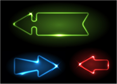 Green, blue and red neon arrows on black background Vector