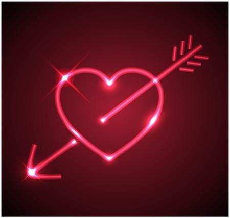 Red heart pierced by the arrow Vector