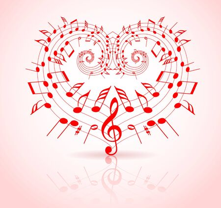 love music: Valentines day music theme - notes thats make a heart