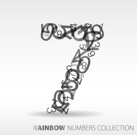 Number seven made from various numbers - check my portfolio for other numbers Stock Vector - 8859073