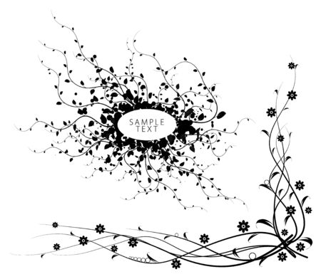 Black and white floral elements isolated on white background