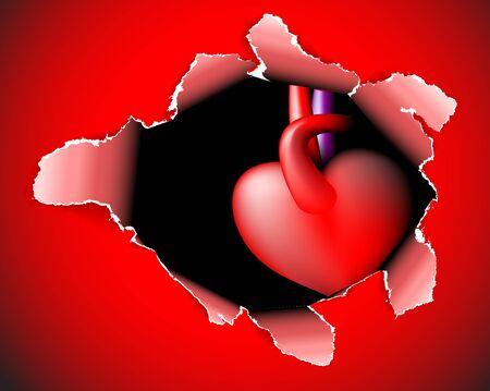lagrimas: Tarjeta de papel rojo con un hoyo profundo y corazón - tema del día de San Valentín
