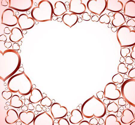 sehnsucht: Valentines Hintergrund mit roten Herzen auf hellem Hintergrund Illustration