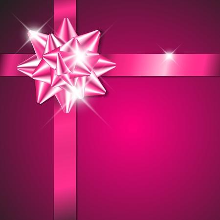 lazo rosa: Arco p�rpura en una cinta de color p�rpura con fondo p�rpura Vectores