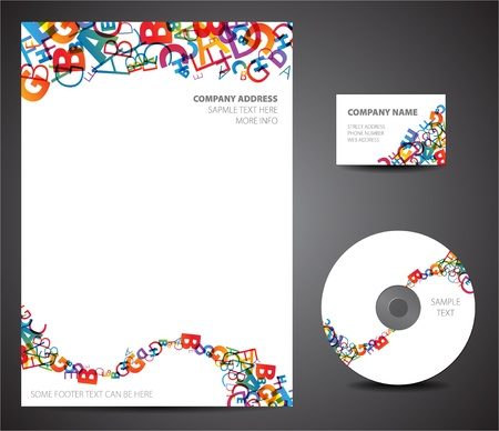 graphics design: Design template set - business card, cd, paper
